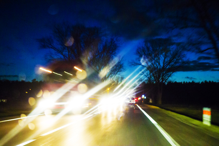 blinded by headlights from oncoming traffic